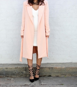 coat peach fall outfits keeping up with the kardashians kardashian kollection pink coat salmon white dress black flats
