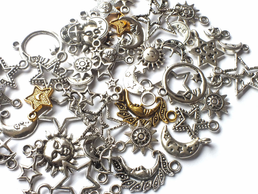 50 x mixed silver plated nice sun, moon, star charms, good quality, mixed size