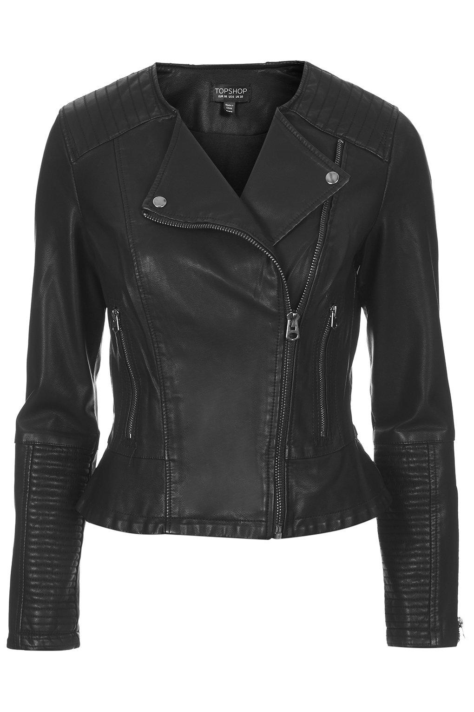 Faux Leather Peplum Biker Jacket - Jackets & Coats - Clothing