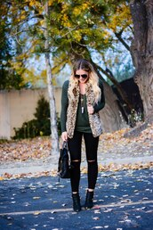 all dolled up,blogger,jacket,jewels,sunglasses,bag,shoes,faux fur vest,fall outfits,ankle boots,black jeans,printed fur vest