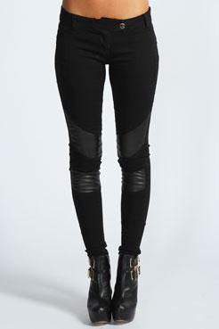 Zanthe PU Insert Skinny Biker Jeans at boohoo.com