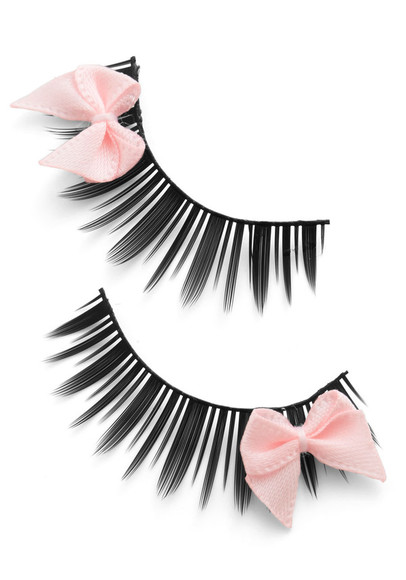 cute make-up eyelashes with bow eyelashes bows lashes pink bows