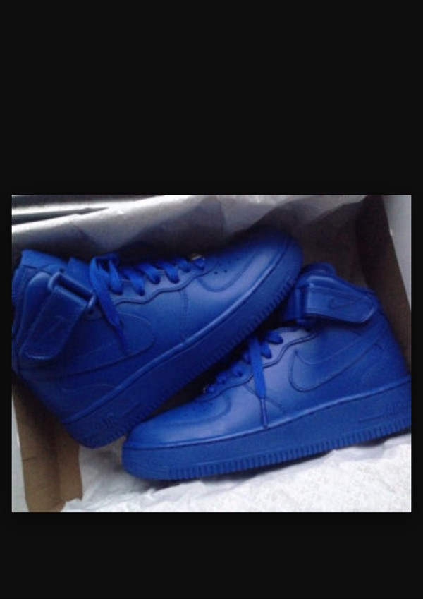 shoes, blue nike air force ones, royal blue shoes, custom ...