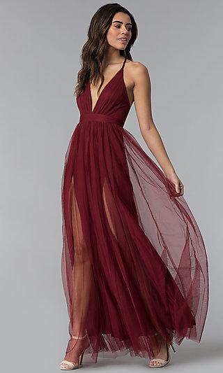 Long Sexy Prom Dress with Deep V-Neckline