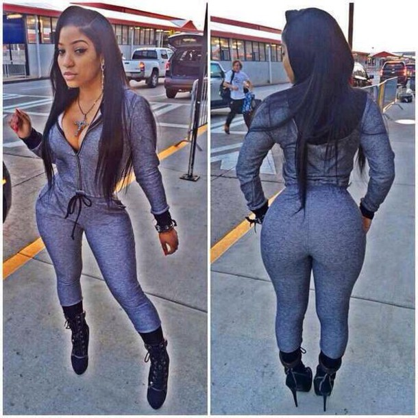 pants grey pants top shoes jumpsuit bodysuit outfit romper one piece high heels black heels accessories no more than 4.5 inches