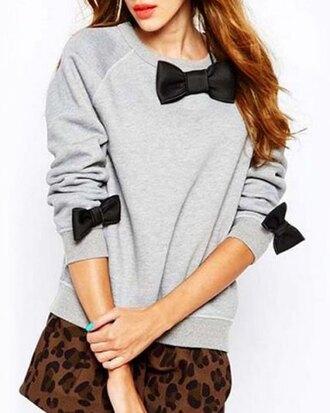 sweater grey bow long sleeves sweatshirt stylish round neck long sleeve bowknot embellished loose-fitting women's sweatshirt fashion style trendy cool