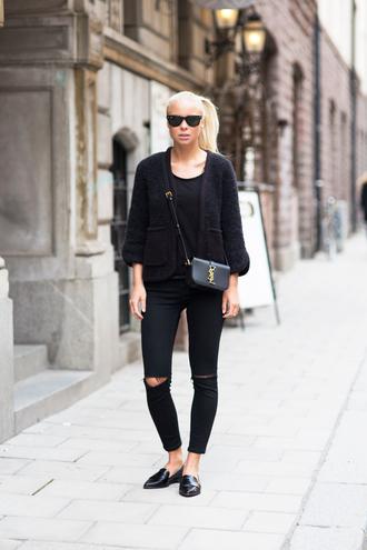 victoria tornegren blogger jeans black ripped jeans black jacket all black everything loafers ysl bag black t-shirt