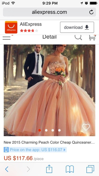dress quinceanera dress quincenera peach pearl rhinestones
