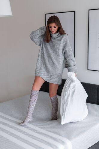 sweater tumblr sweater dress knitwear knitted dress turtleneck dress turtleneck oversized oversized sweater mini knit dress grey knit dress grey dress socks knee high socks knitted socks