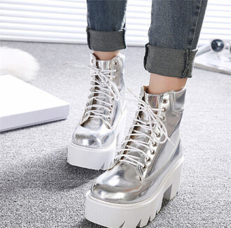 shoes boots grunge metallic holographic shoes it girl shop platform shoes platform sneakers platform lace up boots kawaii trendy denim jacket grunge shoes lace up silver