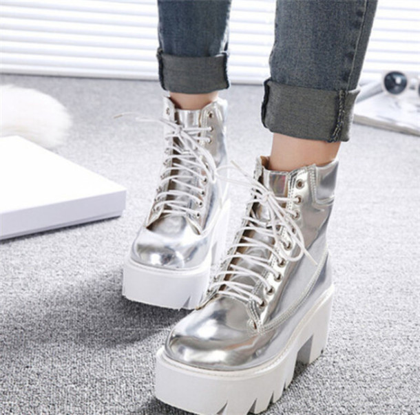 shoes boots grunge metallic holographic shoes it girl shop platform shoes  platform sneakers platform lace up ff737e59ea17