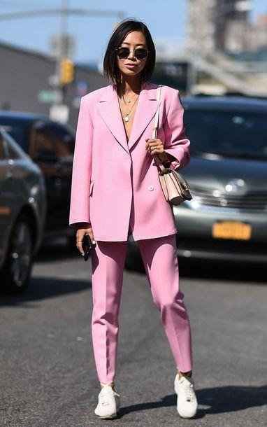 bag pink blazer pink pants white sneakers pink bag shoes white shoes necklace sunglasses black sunglasses blazer