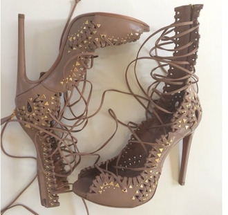 shoes rivets studds sandals girl lace-up shoes stilettos brown high heels high heels peep toe