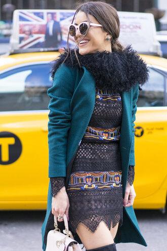 dress mini dress lace dress fashion week 2016 streetstyle coat