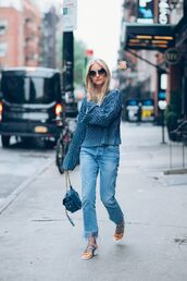 the fashion guitar,blogger,jeans,shoes,bag,sweater,sunglasses,monochrome outfit,le fashion image,frayed denim,cropped jeans,blue sweater,thick heel,blue bag,frayed jeans,all blue,All blue outfit,blue jeans,fringed jeans,round sunglasses,high heel sandals,sandals,blue sandals