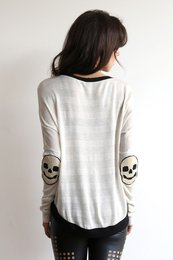sweater skull jumper stripes cream sweater bag stripes stripes cute blouse shirt long sleeves skull tumblr hipster top elbow patches indie