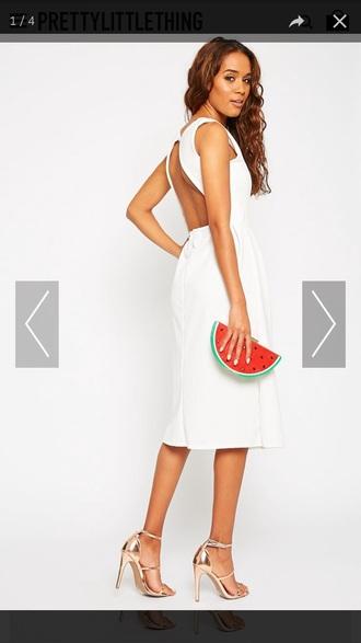 dress pretty little thing midi dress white dress