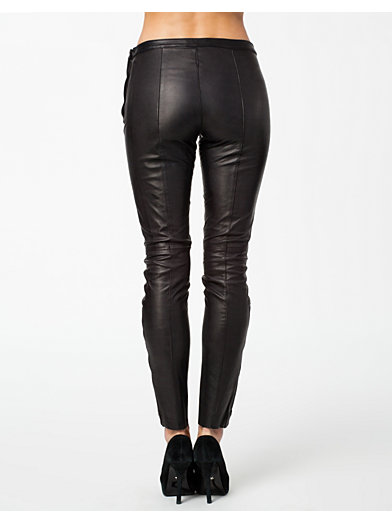 Sabrina Zip Leather Pants - Selected Femme - Black - Trousers & Shorts - Clothing - Women - Nelly.com Uk