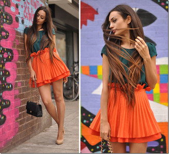 skirt orange pleated skirt