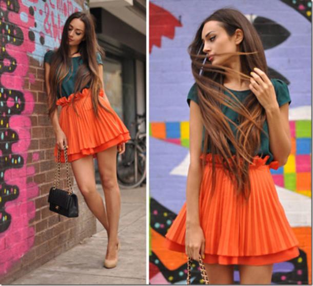 skirt orange pleated skirt