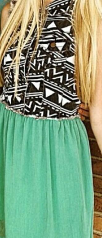 dress aztec green dress