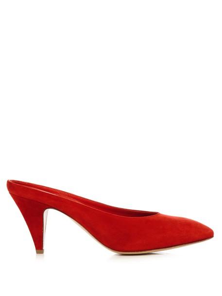 Mansur Gavriel suede pumps backless pumps suede red shoes