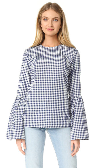 top navy white gingham