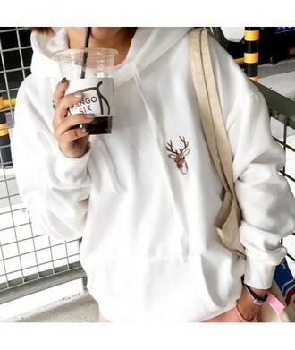 sweater deer white long sleeves hoodie fashion style cool sportswear sporty it girl shop