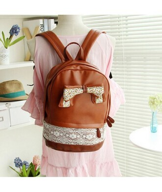 bag brown bow fashion style kawaii cute girly faux leather back to school backpack it girl shop