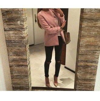 coat fur coat pink coat pink summer winter outfits cute