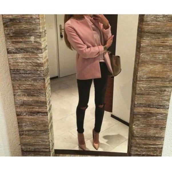 coat fur coat pink coat pink summer winter outfits cute