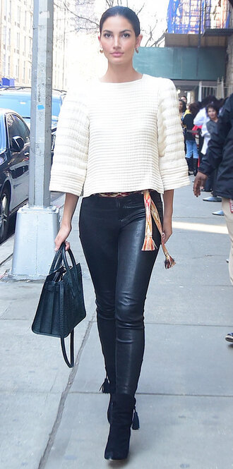 pants sweater boots lily aldridge cropped sweater