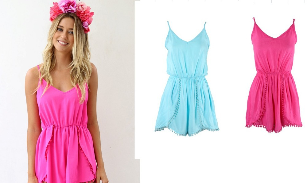 free shIpping .2014 Fashion lovegirl Pom Pom Playsuit  FT779-in Jumpsuits & Rompers from Apparel & Accessories on Aliexpress.com