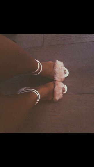 shoes fur heels cream high heels