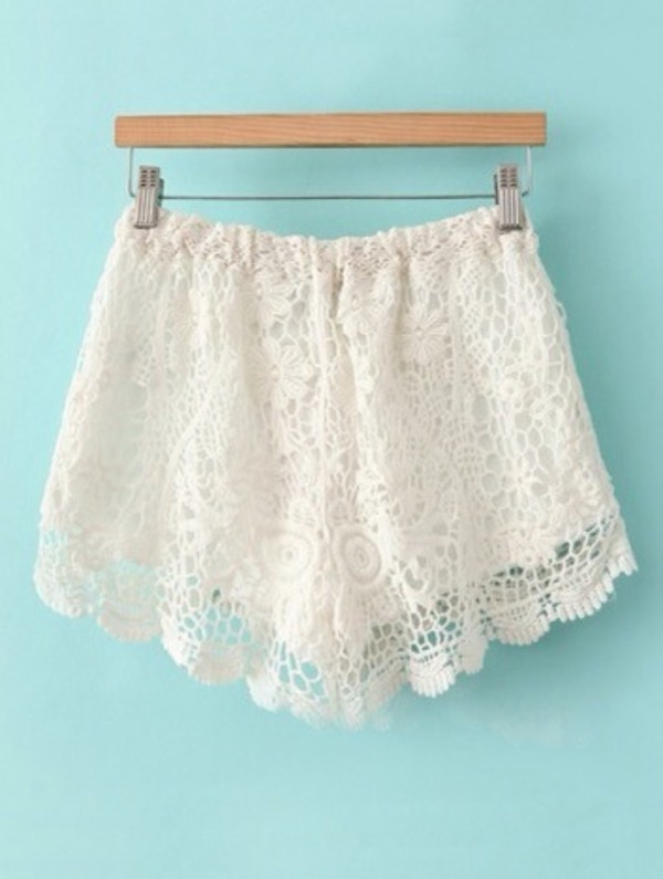 shorts lace shorts white white lace shorts tumblr shorts cute shorts