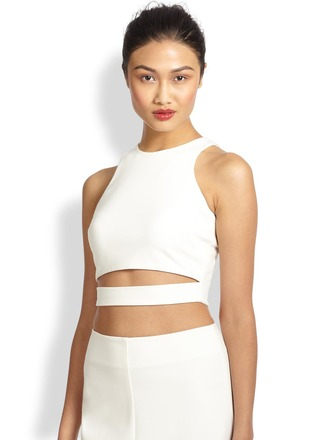 top nicholas cutout ponte cropped top cut-out nicholas tops crop tops cropped crop cut out crop top
