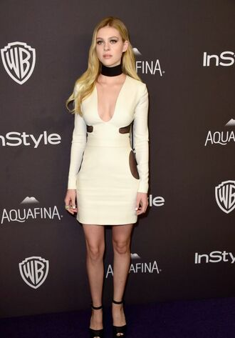 dress white dress short dress bodycon dress choker necklace necklace sandals high heel sandals long sleeves black sandals clubwear club dress party dress nicola peltz celebrity jewels celebrity style celebstyle for less black choker