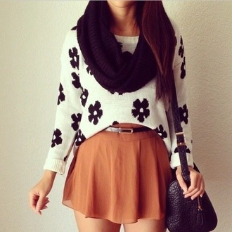 sweater fall skirt cute skirts girly cool fashion outfit fall outfits fall sweater skirt blouse