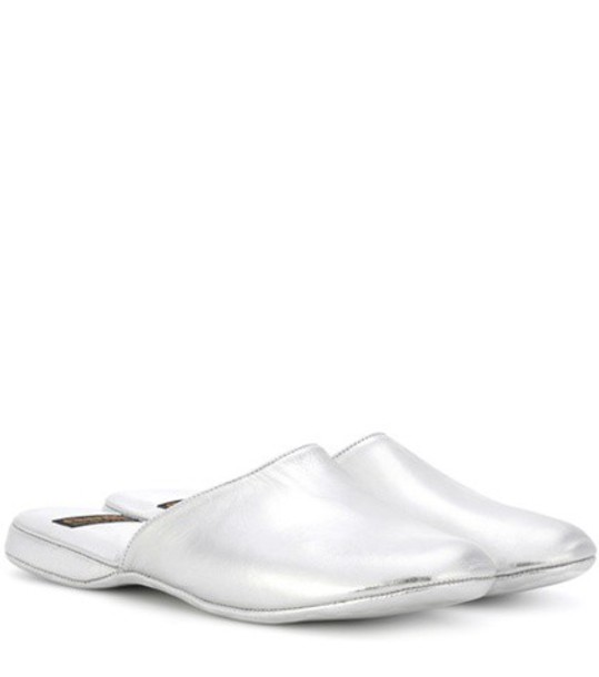 Church's Hebe metallic leather slippers in silver