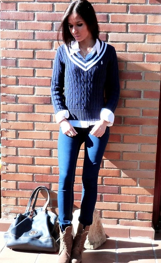 sweater white stripes on collar cable knit ralph lauren nautical stripes navy preppy back to school
