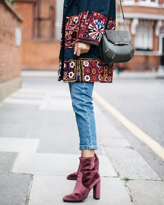 shoes velvet boots velvet ankle boots boots denim jeans blue jeans coat embroidered embroidered jacket bag black bag cropped jeans