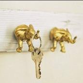 keychain,key,elephant,boho,gold,home accessory,metallic home decor,wall decor,boho decor