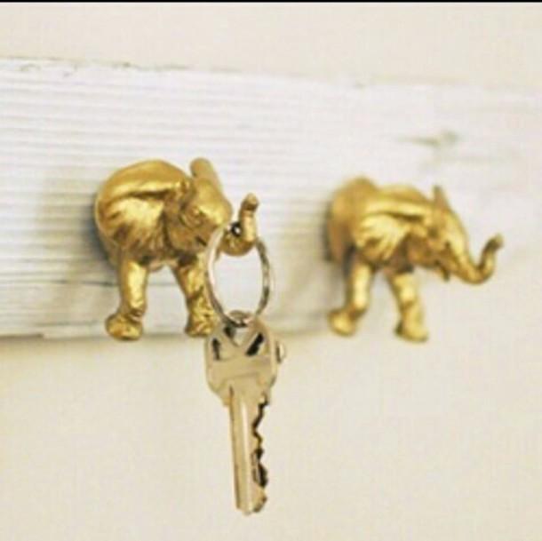 keychain key elephant boho keychain gold home accessory metallic home decor wall decor boho decor