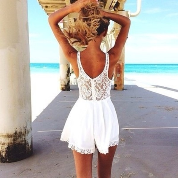 white dress lace dress summer dress romper white romper dress top shirt white lace no sleeves