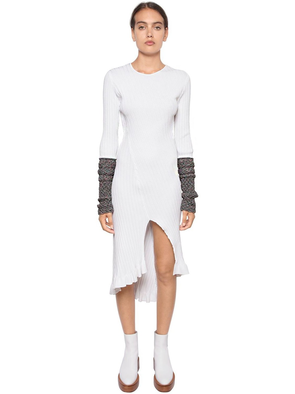 ESTEBAN CORTAZAR Ribbed Knit Midi Dress W/ Lurex Cuffs in white