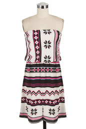 dress,betsy boo's boutique,strapless,fuchsia,tribal pattern,mini dress,aztec