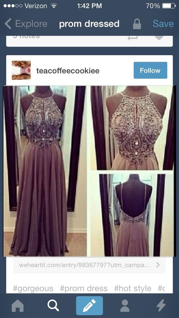 dress tan jeweled dress long prom dress belt prom dress