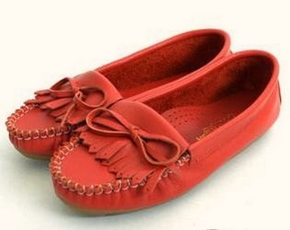 noeud shoes patte frangée genuine taiwan mocassins moccasins red red shoes chaussures à lacets cuir leather