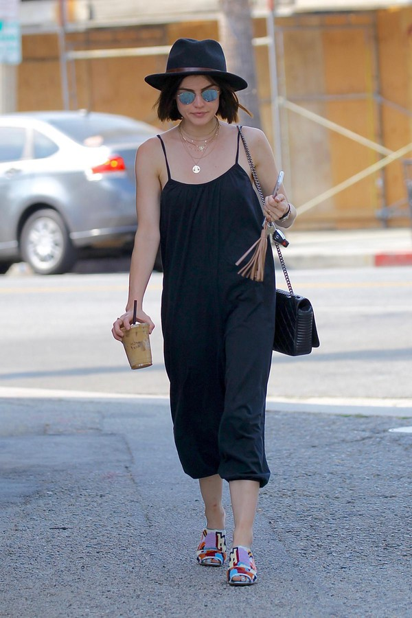 jumpsuit pants black streetstyle summer outfits lucy hale hat
