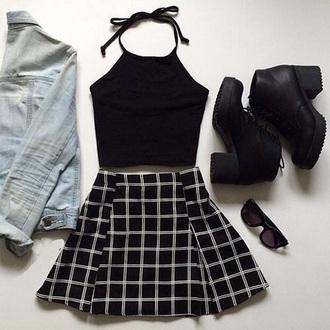 black dress grunge white outfit tank top